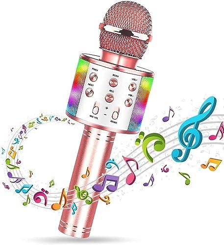 SunTop Microphone Karaoké Bluetooth Sans Fil, Haut-parleur Multifonctionnel avec Lumière LED Colorée, Parleur Intégré...