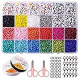 Cuentas de Colores de 3 mm Cuentas para Collares Cuentas Letras Redondas para Hacer Joyas de Pulseras Collares Regalo para Niños 24 Colores Brillantes