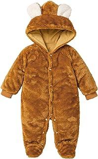 MINASAN Baby Winter Fleece Overall Mit Kapuze Mädchen Jungen Schneeanzüge Warm Strampler Outfits Khaki 0-12 Monate
