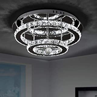 Lámpara Colgante de Cristal 36W LED Moderna Lámpara de Techo de Cristal de Acero Inoxidable 30cm Lámpara de Araña Iluminación Interior para Sala de Estar, Dormitorio, Pasillo, Comedor, Salón