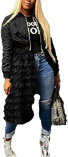 ECHOINE Women Casual Bomber Jacket - Tulle Mesh Patchwork Long Sleeve Zipper Coat Jackets Dress