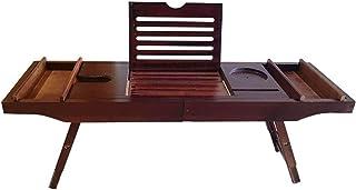 伸縮式竹バスタブトレー/折りたたみ式通気性浴室用アクセサリートレータブレットラックワイングラスラックブックスラック-ブラウン