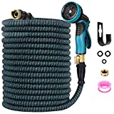 """3. Expendable Garden Hose, Homga 100FT Garden Water Hoses with 9 Function Nozzle, 3-Layers Latex, Heavy Duty Kink Free Water Hose with 3/4"""" Solid Brass Fittings Anti-leak flex Hose for Watering, Washing"""