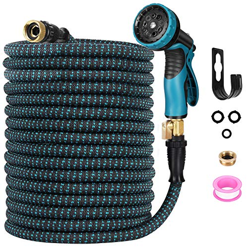 """Expendable Garden Hose, Homga 100FT Garden Water Hoses with 9 Function Nozzle, 3-Layers Latex, Heavy Duty Kink Free Water Hose with 3/4"""" Solid Brass Fittings Anti-leak flex Hose for Watering, Washing"""