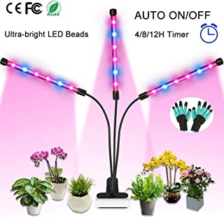 Grow Light, 36W Full Spectrum LED Grow Lamp for Indoor Plants with Auto ON/Off Timer, 4/8/12 Hours Timing 8 Dimmable Plant Lights for House Garden Hydroponics Succulents Herbs Growing (Triple Heads)