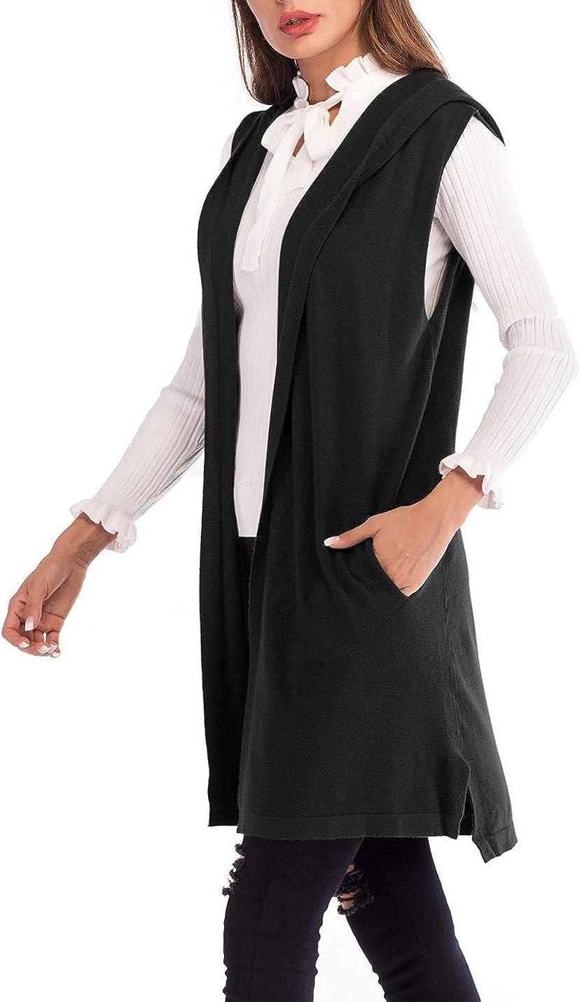 Women's Lightweight Sleeveless Hooded Cardigans Open Front Sweater Vest