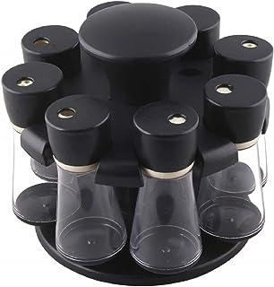 Kuber Industries Multipurpose Revolving Plastic Spice Rack 8 Pieces Masala Box/Condiment Set/Masala Boxes for Kitchen (Bla...