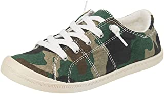 Womens Camouflage Canvas Shoes Classic Student Plaid Flat Shoes Fashion Comfort Walking Casual Sneakers