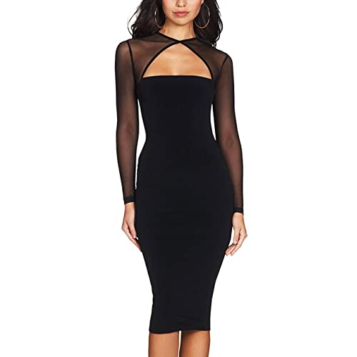 2d2b502ae8 Maketina Women Midi Length Cut Out Keyhole Party Bodycon Bandage Dress with  Transparent Long Sleeves