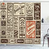 Ambesonne Antique Shower Curtain, Composition of Old Advertisement Designs Newspaper Nostalgia Illustration, Cloth Fabric Bathroom Decor Set with Hooks, 70' Long, Brown Orange