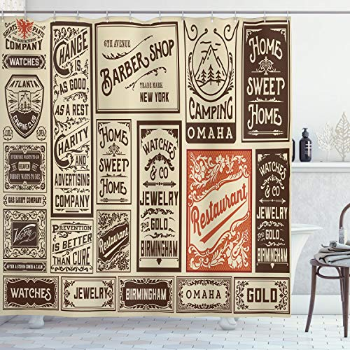 ABAKUHAUS Antico Tenda da Doccia, Confezione Vecchio pubblicità, Tessuto Set di Decorazioni per Il Bagno con Ganci, 175 cm x 200 cm, Crema Marrone Arancione