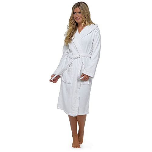Ladies Luxury 100% Cotton Towelling Bath Robe Dressing Gown Wrap Nightwear  Hooded   Non Hooded f7a7e9876