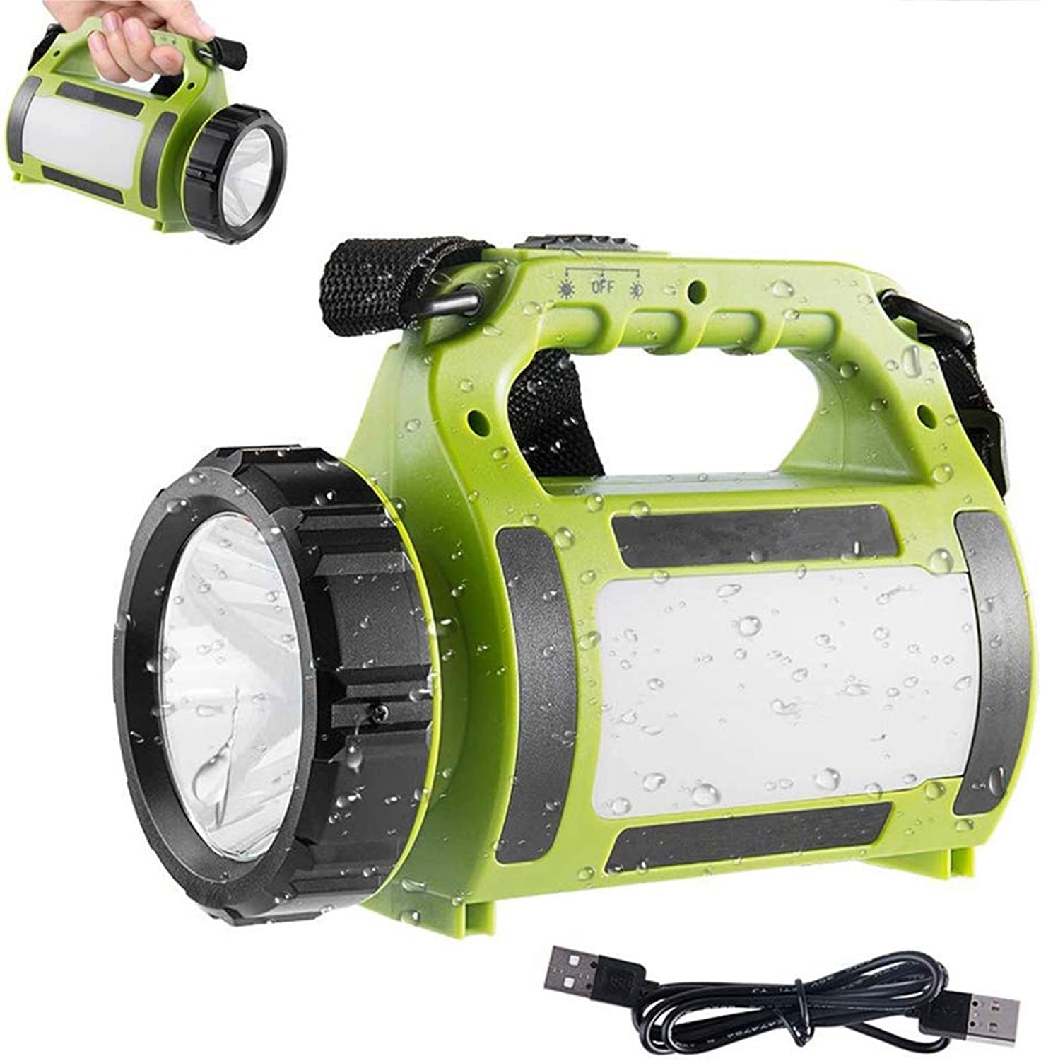 LED Rechargeable Torch Lantern Spotlight Super Bright Multi-Functional Camping Light Waterproof Portable LED Searchlight, 2000mAh Battery