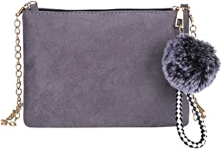 Everpert Women Messenger Clutch Classic Scrub Pu Leather Elegant Chain Shoulder Bag