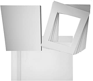 Studio 500~Pack of 25 16x20 White Pre-Cut Picture Mats with White Core Bevel Cut for 11x14 Picture Matte Sets + Backing + Bags, White (16x20 Complete Set)