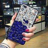 Case for OnePlus 5T,Luxury 3D Handmade Sparkle Stunning Stones Crystal Rhinestone Bling Full Diamond Gemstone Glitter Case for OnePlus 5T(B White/Blue)