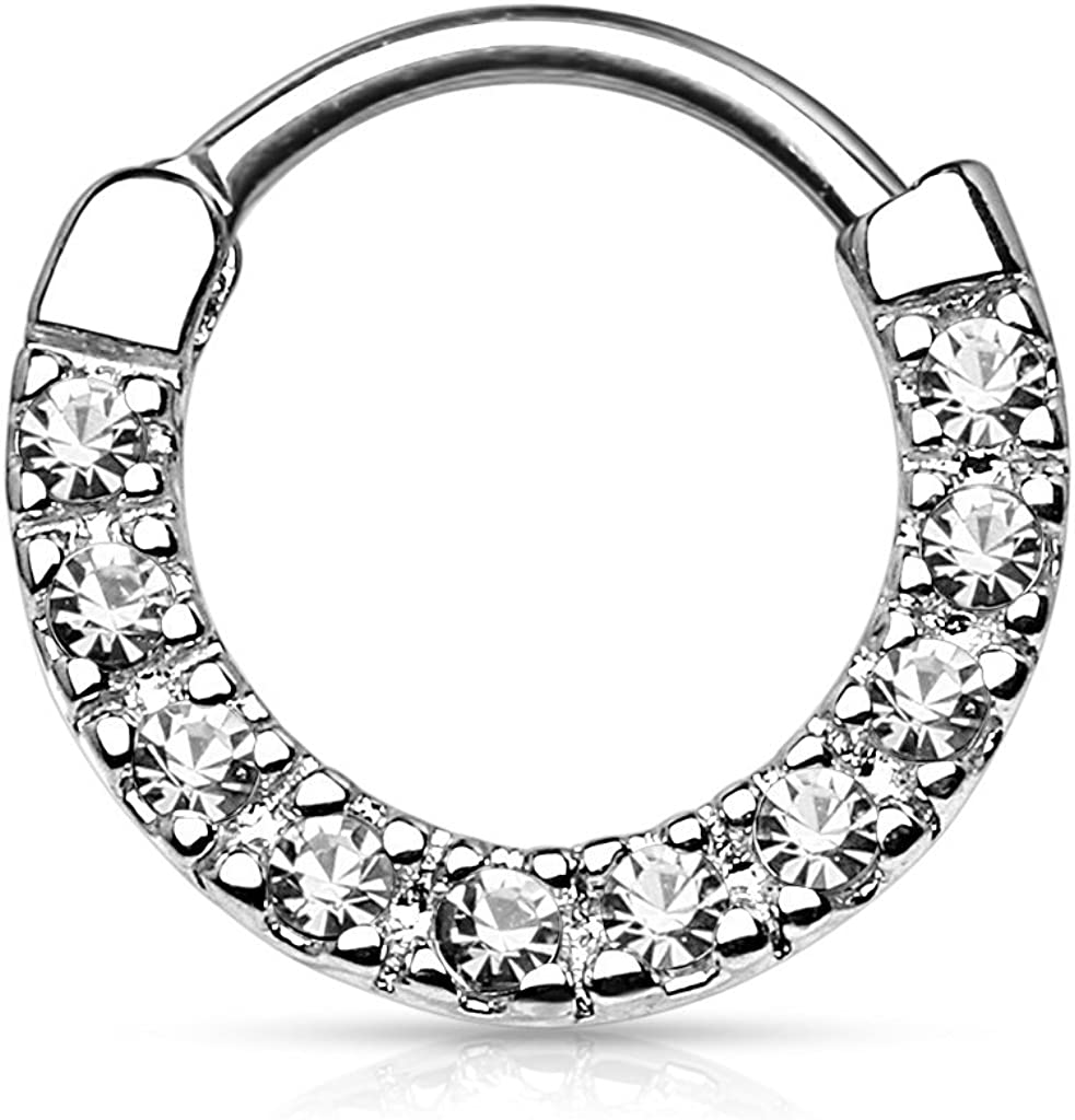 Forbidden Body Jewelry 16g 10mm Rounded Top Pave CZ Crystal Tiny Clicker Hoop for Septum and Cartilage Piercings
