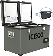 ICECO VL60 Dual Zone Portable Refrigerator with SECOP Compressor, 60 Liters Platinum Compact Refrigerator, DC 12/24V, AC 110-240V, 0℉ to 50℉, Home & Car Use (with Insulated Cover)