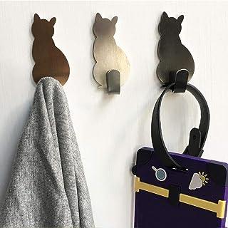 2 stks Zelfklevende Muurhaken Kat Patroon Hangers Voor Badkamer Keuken Plak op Muur Opknoping Deur Kleding Handdoekhouders...