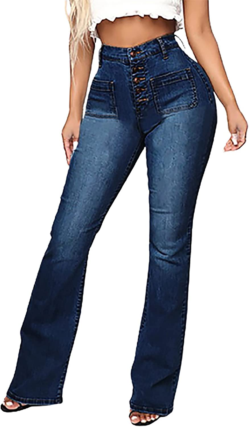 MIVAMIYA Women High Waist Button Jeans Bell Bottom Skinny Stretch Denim Jeans Bootcut Casual Mom Distressed Jeans Pants