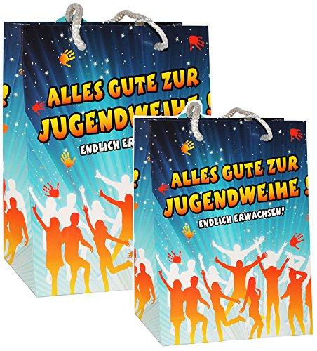 2 TLG. Set - Geschenkbeutel / Geschenktasche -  Alles Gute zur Jugendweihe !  - Geschenktüte Tüte Beutel Tasche - Jugend Fest & Feier / Jugendfeier - Endlic..