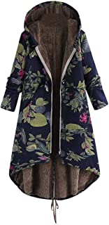 UONQD Womens Floral Print Oversize Coats ,Winter Warm Vintage Outwear Hooded Pockets