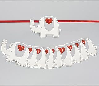 My First Friend Guirlande éléphant gris et blanc avec ruban orange – Décoration de chambre d'enfant