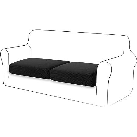 TIANSHU Housse de Coussin Extensible Coussin de canapé Housse de Protection pour Meubles Housse de siège de canapé pour canapé Housse de Coussin 2 tranches pour Chaise (2 tranches, Noir)