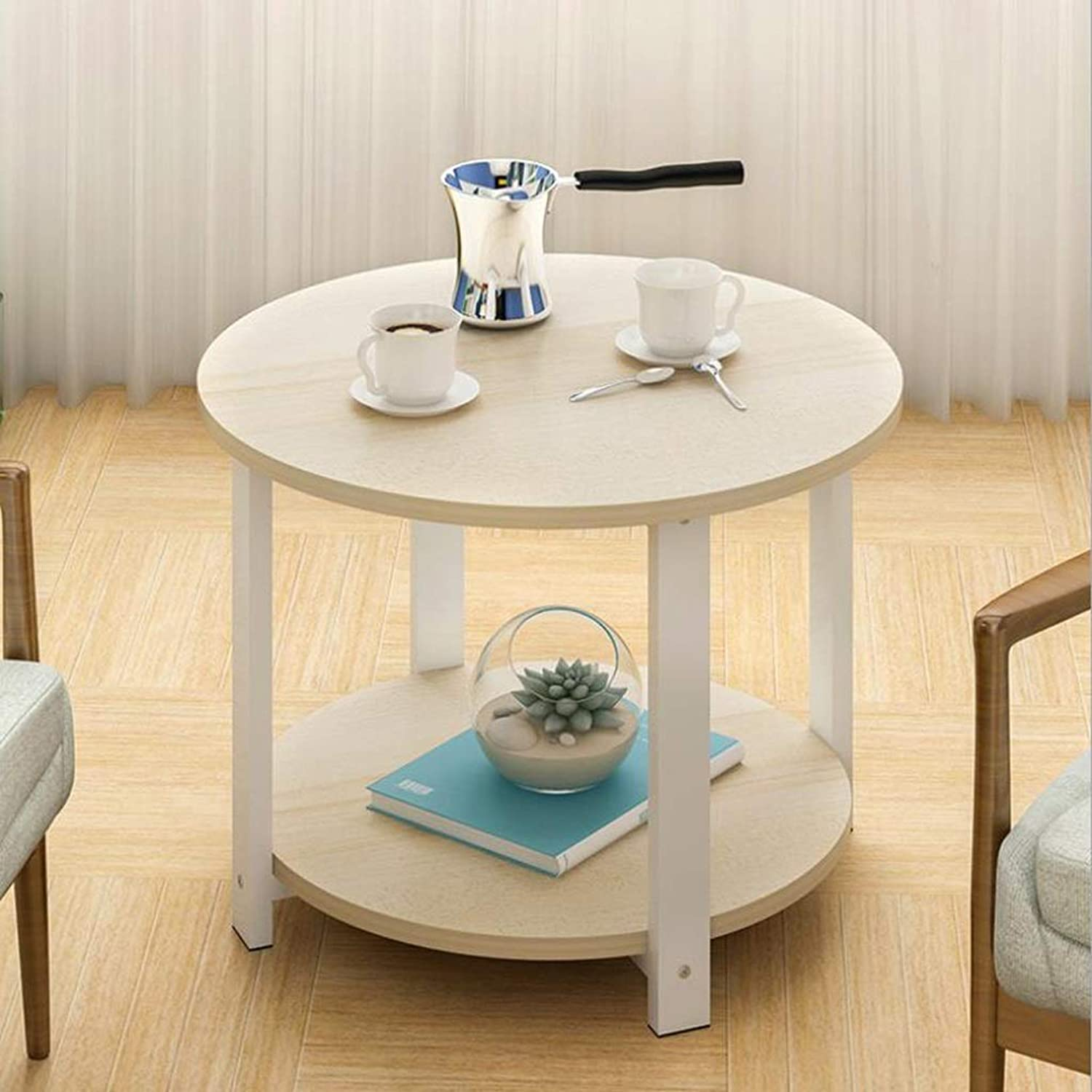 End Table, Round Double End Table Side Table Coffee Table, Easy to Assemble Double Layer Decor Indoor and Outdoor (color   A, Size   50CM)