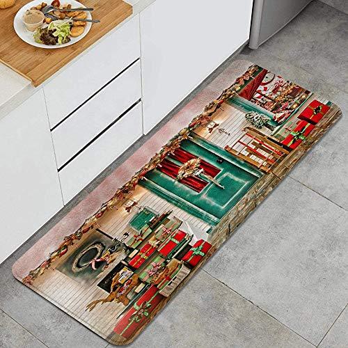 JOSENI Anti-Fatigue Kitchen Floor Mat,Front Door Christmas Store Garland Wreath Xmas Tree Reindeer Sled Santa Retro Lantern New Year,Non-Slip Cushioned Door Bedroom Bath Carpet Rug Pad,47.2 x 17.7in