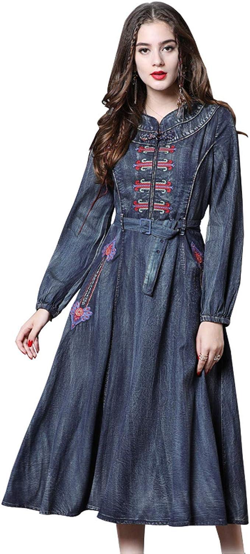 Chowsir Women Vintage Embroider Slim with Belt Jean Dress