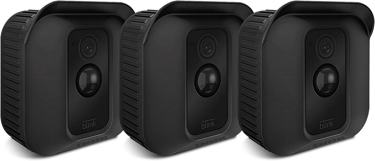 CASEBOT Funda de Silicona para Webcam Blink XT2 / Blink XT - [3 Piezas] Cubierta Protectora Impermeable para Blink XT2/XT Sistema de Cámaras de Seguridad Negro