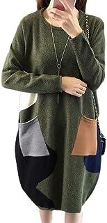 2018年秋と冬の新しいセーターニット長袖シャツ秋と冬の服長い段落の色の一致のポケットドレス厚手コートレディース
