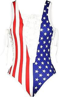 Women Sexy Swimsuit America Flag Fringe Bandage Monokini Suit-Patriotic One Peice Swimwear