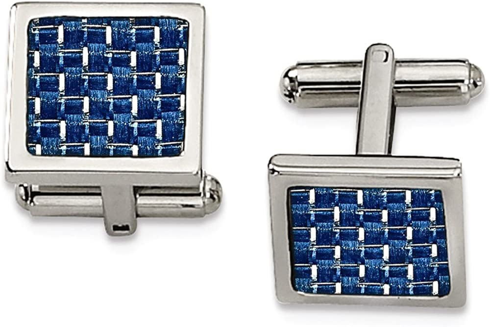 Chisel Stainless Steel Blue Carbon Fiber Cuff Links
