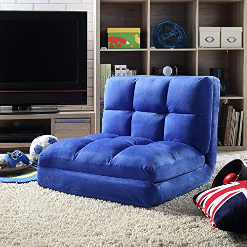 Loungie Micro-Suede 5-Position Adjustable Convertible Flip Chair, Sleeper Dorm Bed Couch Lounger Sofa, Blue