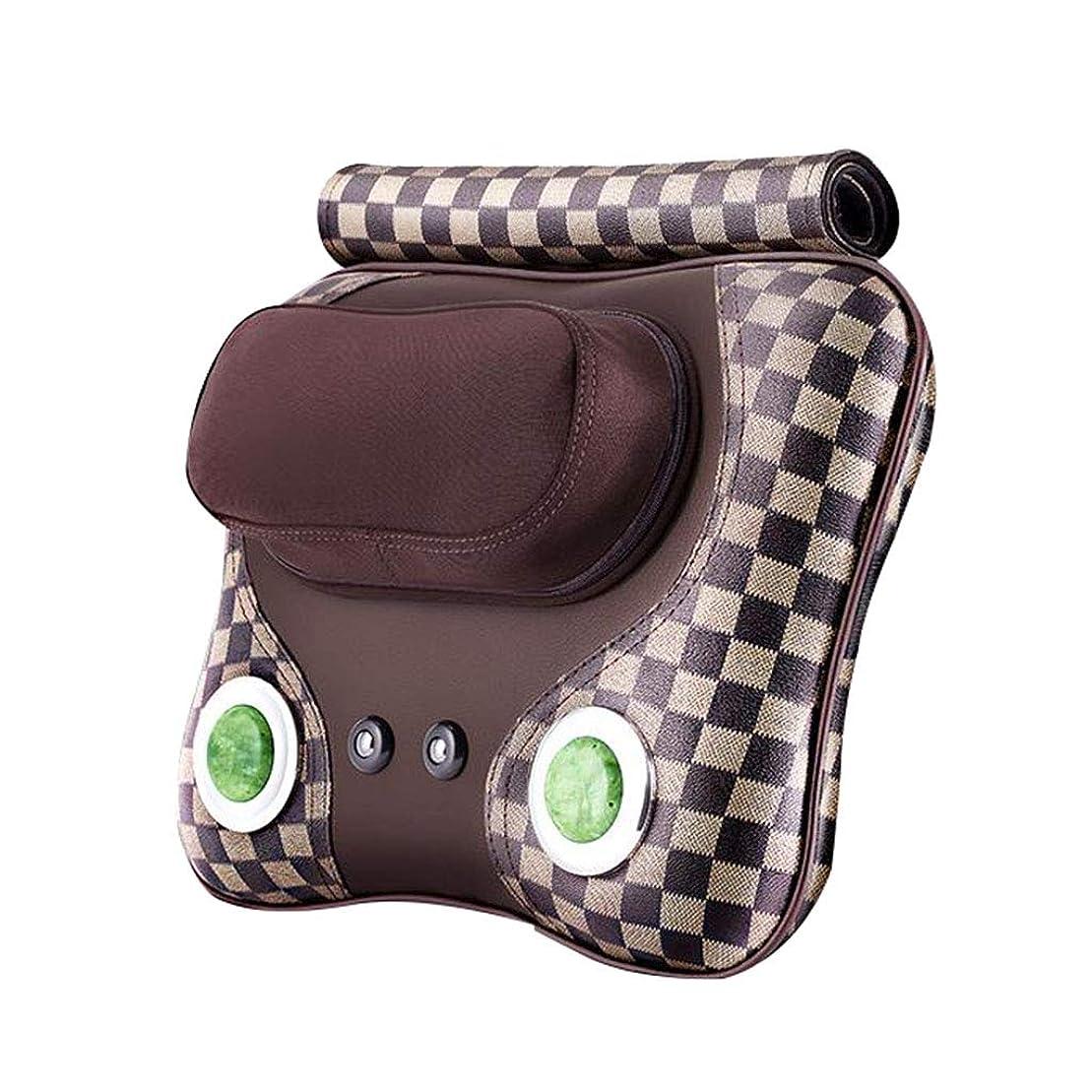 修正謝る失業マッサージャー マッサージャー首背部マッサージ枕振動マッサージマッサージパッド加熱多機能ホームオフィス車黒い贈り物 (Color : Brown, Size : 38*25*8cm)