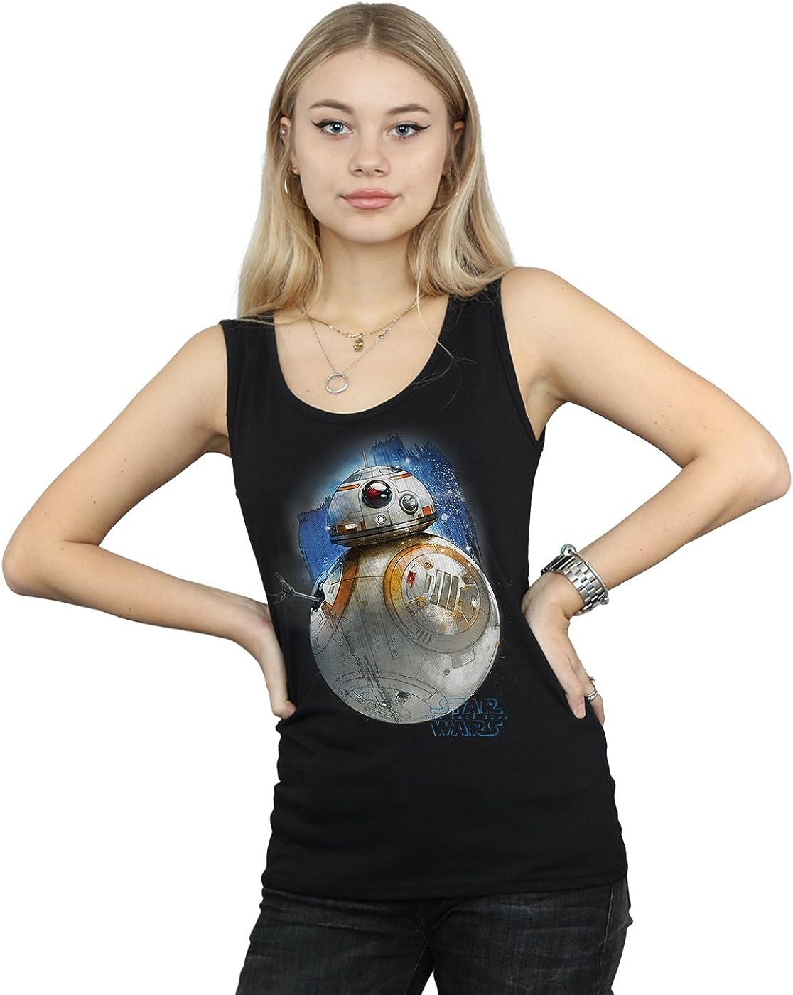 Star Wars Women's The Last Jedi BB-8 Brushed Tank Top Medium Black