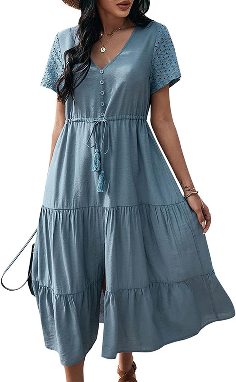 KANCY KOLE Women's V-Neck Dress Button Up Elastic Waist Split Flowy Summer Beach Maxi Dress S-XXL