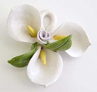 Capodimonte Ceramic Flower Calla Lily with hook up on top