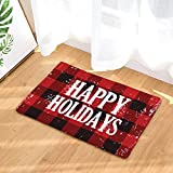 FANNEE Rustic Red Black Buffalo Check Plaid Pattern Doormat, Happy Holidays Floor Mat Rug Indoor/Front Door/Bathroom/Kitchen and Living Room/Bedroom Mats, 18-Inch by 30-Inch