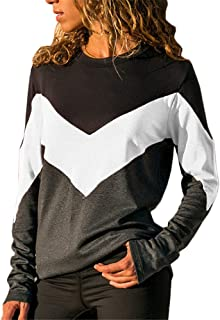 Pgojuni Casual Long Sleeve Splicing Color O-Neck T Shirts Tops Blouse Tee Top