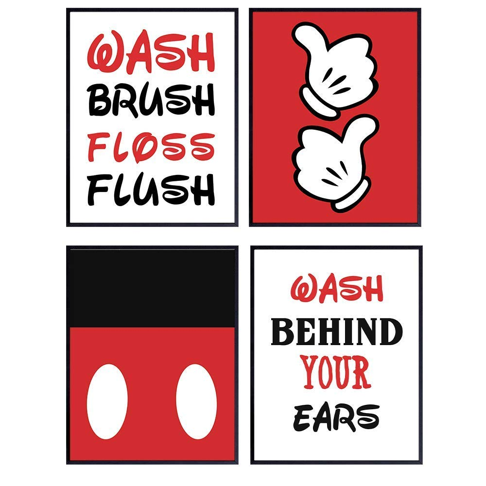 Mickey Mouse Bathroom Wall Art Prints Set - Home Decor For Kids, Childs, Childrens, Baby or Toddlers Bath - Gift for Disney World and Disneyland Fans - Set of Four - Unframed- 8x10 Photos