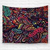 Leisure-Time Tapiz Decoración Tapices Manta de Pared Textura de Arte con Flores abstractas Sin Fin Étnica Volver Artesanía 60 'X80'