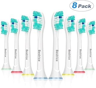 Replacement Brush Heads for Philips Sonicare Rechargeable Electric Toothbrush, 8 Pack, Fits Plaque Control, Gum Health, DiamondClean, FlexCare, HealthyWhite and Sonic Snap-On Brush Handles by Bestrice