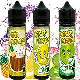 3X60ML KIT E-Liquid OASIS PIÑA COLADA,LIMON,MELON de ElecVap - Sin Nicotina - 60ml formato TPD - 0MG Nicotina - E-Liquido para Cigarrillos Electronicos - E Liquidos para Vaper