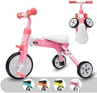 XJD 2 en 1 Triciclo para Niños con Pedales Ligero y Plegable Triciclo Bicicleta para Niño y Niña de 2 a 4 años con CE Certificación con Bolsa de Transporte (Rosa)