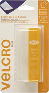 VELCRO Brand Sticky Back for Fabric Hook and Loop Tape, 102mm x 152mm, White