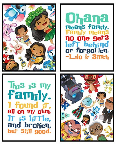 Stay Weird - Stitch Themed Birthday Party Supply and Wall Art Print Pictures (Ohana Art Set)