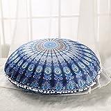"Sleepwish Large 30"" Round Pillow Cover Boho Mandala Floor Cushion Zen Meditation Pillow Case Outdoor Pom Pom Pillow Sham (Blue Orange)"